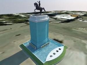 Cortina de agua en el monumento: en febrero comenzará la obra