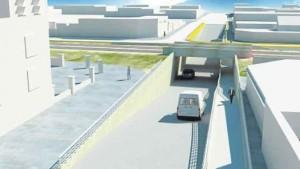 Túnel bajo a nivel de calle Hornos y vías F.F.C.C. Urquiza. $60 Millones