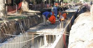 Se encuentra paralizada la canalización del Boulevard 9 de Julio