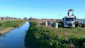 Construcción del Canal Aliviador N°1 en la localidad de Bustinza