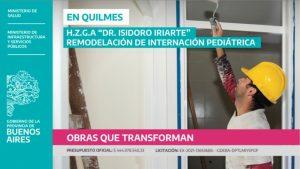 Puesta en valor del sector pediátrico en el Hospital de Quilmes DR. ISIDORO IRIARTE $444M